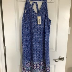 Skies are blue summer dress blue print cutout